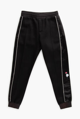 Embroidered Skull Patched Sweatpants