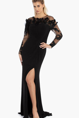 Feathers Details Crepe Gown
