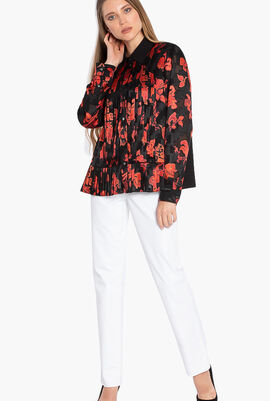 Floral Print Pleated Shirt