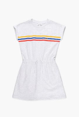 Tricolor Stripe Drop Shoulder Dress