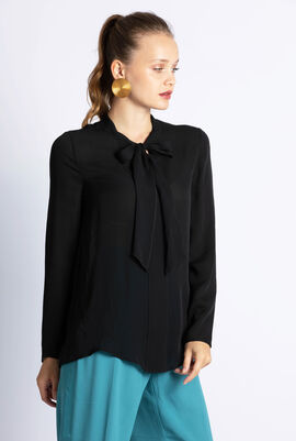 Neck-Tie Long Sleeves Blouse