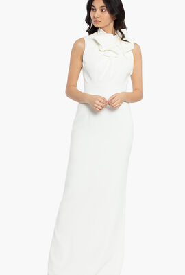 Oversized Bow Neckline Long Gown