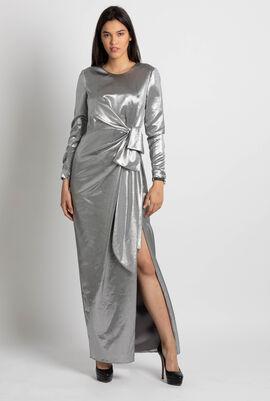 Waist Bow Lame Dress