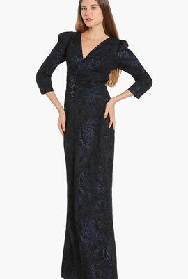 Jacquard Three Quarter Sleeves Evening Dress