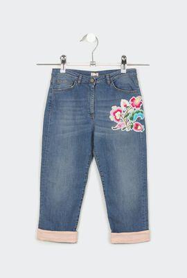Embroidered Light Denim Jeans