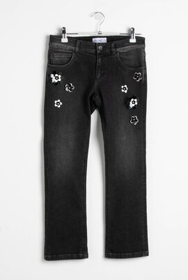 Flowers Patches Jeans Nero