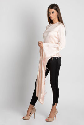Feather Embellished Long Sleeve Top