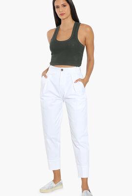 High-Waist Cotton Pants