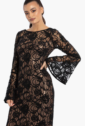 Calix Sequin Lace-Over Gown
