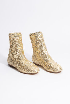 Gold Embroidered Bootie
