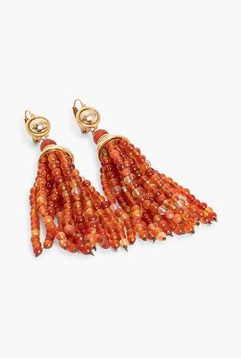 Bead Tassel Wire Earrings