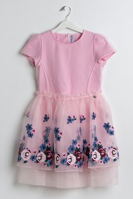 Pink Floral Embroidered Tulle Dress