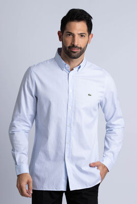 Slim Fit Polka Dot Print Cotton Poplin Shirt