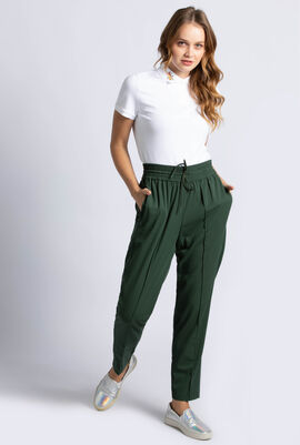Overstitched Pleats Flowing Urban Sweatpants