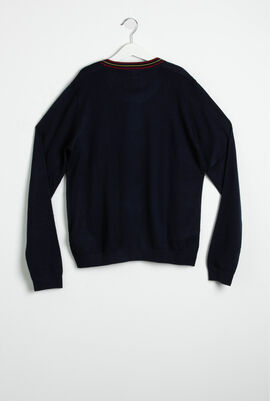 Contrast Striped Wool Blend Sweater