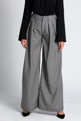 Pleated Checkered Pants