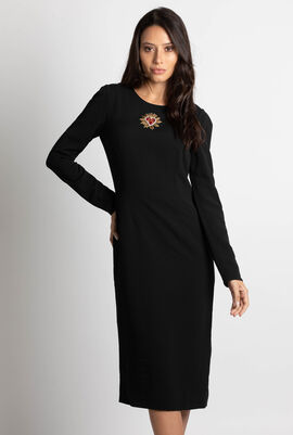 Embellished Heart Long Sleeve Cady Dress