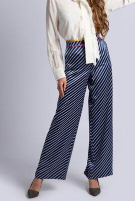 Contrast Binding Printed Pajama Pants