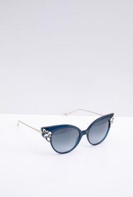 Cat Eye Stone Embellished Black Women's Sunglasses