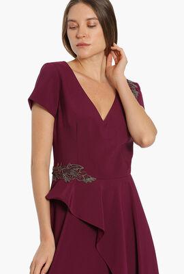 Beaded Asymmetrical Evening Dress