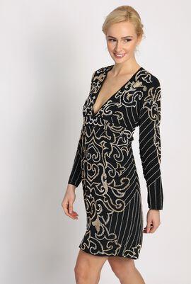 Long Sleeve Beaded Midi Dress