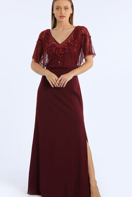 Slitted Beaded Gown
