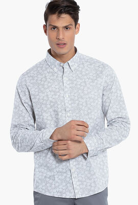 Slim Fit Stretch Floral Print Long Sleeves Shirt