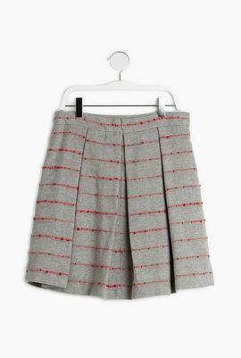 Striped Pleated Wool Skirt