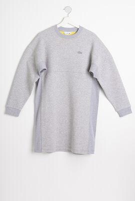 Ribbed Panels Two-Ply Sweatshirt Dress