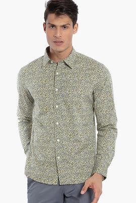 Slim Fit Stretch Floral Print Long Sleeves Shirt