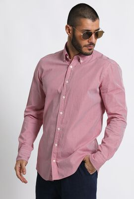 Fine Checkered Slim Fit Long Sleeve Shirt