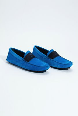 Contrasting Suede Solid Loafers