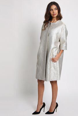 Faenza Metallic-Jacquard Coat