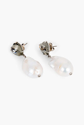 Crystal Heart And Pearl Drop Earrings