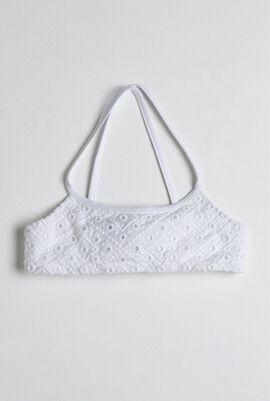 White Eyelet Embroidered Bikini Top