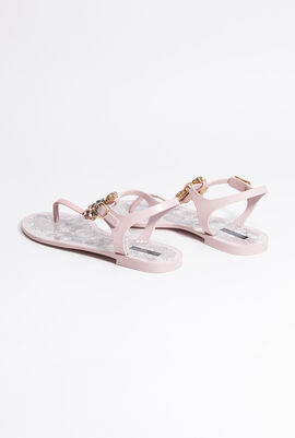 Crystal-Embellished Thong Strap Sandals