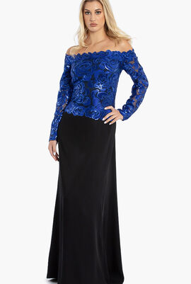 Off Shoulder Sequins Embroidery Top Gown