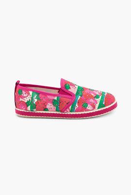 Pink Flower Embellished Beads Flat Shoes