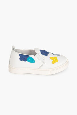 Flower Patch Leather Slip-On Sneaker