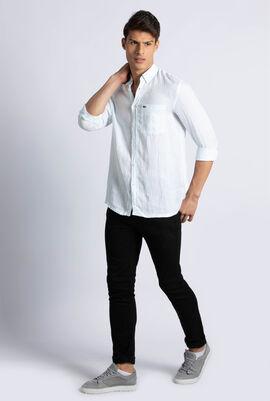 Regular Fit Striped Linen Canvas Shirt
