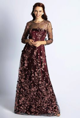 Mesyer Embroidered Floral Gown Dress