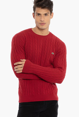 Crew Neck Wool Cable Knit Effect Sweater