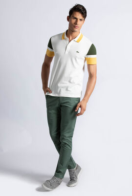 قميص بولو بقصة ضيقة وألوان متباينة من قطن بيما بيكيه
