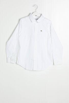 قميص بأكمام طويلة محبوك من قطن أوكسفورد