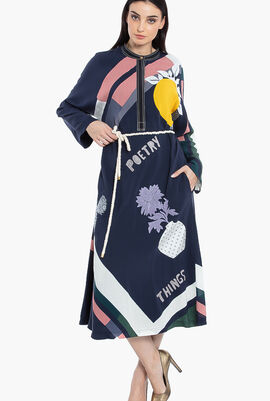Scarf-Print Embroidered Dress
