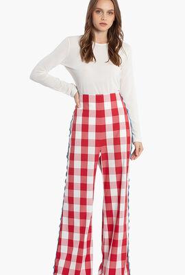 Assiro Checkerboard Pattern Wide Leg Trouser