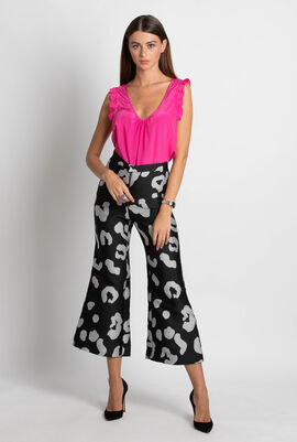Cropped Leopard-Jacquard Flared Pants