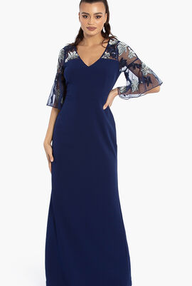 Embroidery Cape SL Crepe Gown