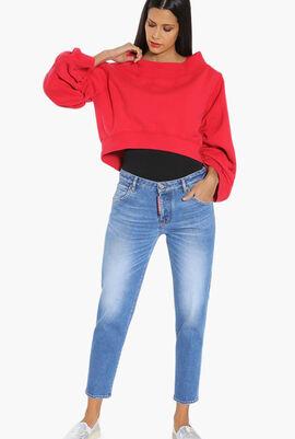 Ruched Sleeves Cropped Sweatshirt