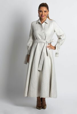 Jacquard Print Trench Gown